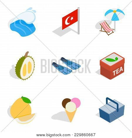 Turkey Vacation Icons Set. Isometric Set Of 9 Turkey Vacation Vector Icons For Web Isolated On White