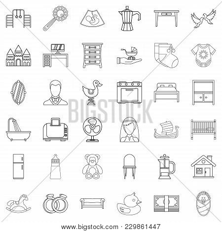 Parental Supervision Icons Set. Outline Set Of 36 Parental Supervision Vector Icons For Web Isolated