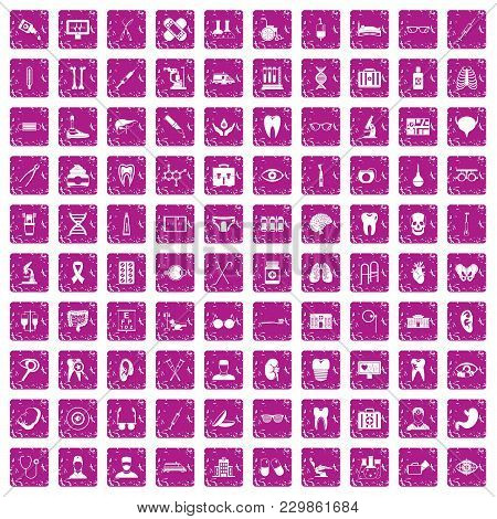 100 Medical Icons Set In Grunge Style Pink Color Isolated On White Background Vector Illustration