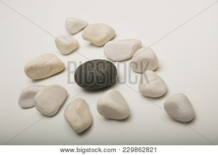 Water Washed Smooth White Pebbles With A Single Black One On A White Background With Copy Space In A