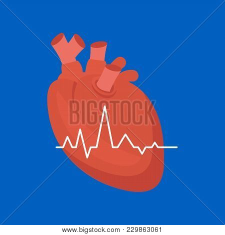 Cartoon Heart On A Blue Background Cardiovascular System Concept Of Diagnostics And Warning Signs Fl