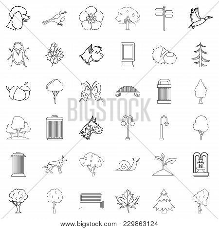 Common Garden Icons Set. Outline Set Of 36 Common Garden Vector Icons For Web Isolated On White Back
