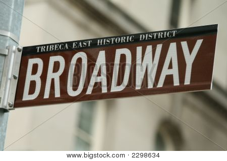 Red Broadway Sign Close Up