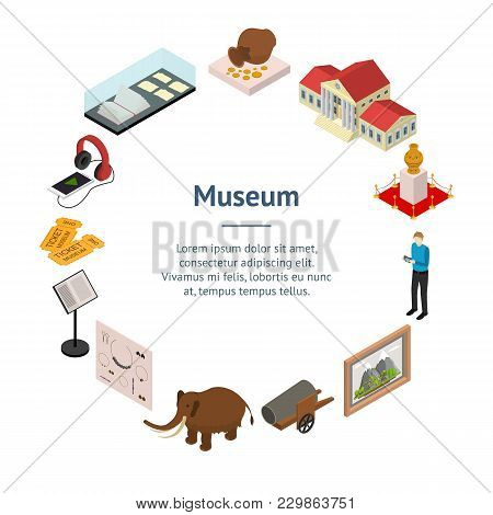 Museum Exhibits Galleries Banner Card Circle Isometric View Include Of Ticket, Sculpture, Statue, Am
