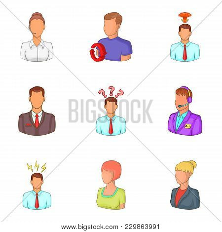 Personal Face Icons Set. Cartoon Set Of 9 Personal Face Vector Icons For Web Isolated On White Backg