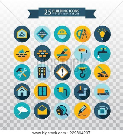 Flat Circular Construction Icons. Web Icons Set - Building, Construction And Home Repair Tools. Flat