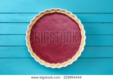 Nordic Dessert. Simple Homemade Lingonberry Cowberry Pie On Blue Background Copyspace Top View