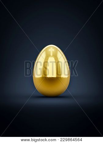 3d illustration of a golden easter egg with cross reflection on top