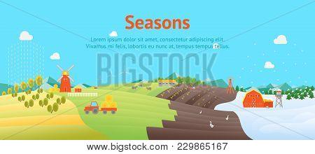 Cartoon Seasons Summer Autumn Winter And Spring Time Of Year Landscape Background Card Poster Flat Design Nature Scene Vector Illustration Season