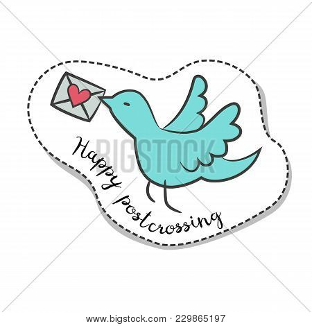 Sticker With Cartoon Pigeon With Envelope With Text