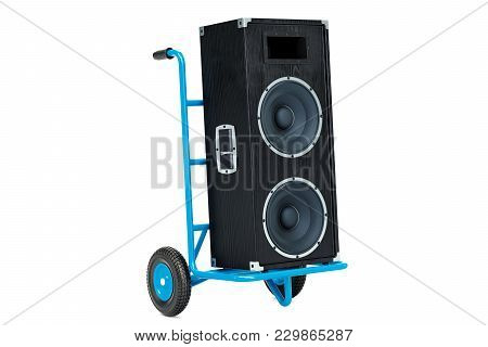 Delivery Of Music Equipment Concept. Hand Truck With Concert Loudspeaker, 3d Rendering Isolated On W