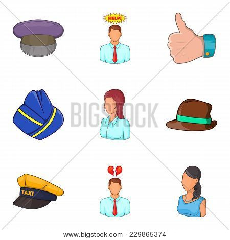 Description Of Personnel Icons Set. Cartoon Set Of 9 Description Of Personnel Vector Icons For Web I