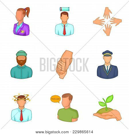 Description Of Staff Icons Set. Cartoon Set Of 9 Description Of Staff Vector Icons For Web Isolated