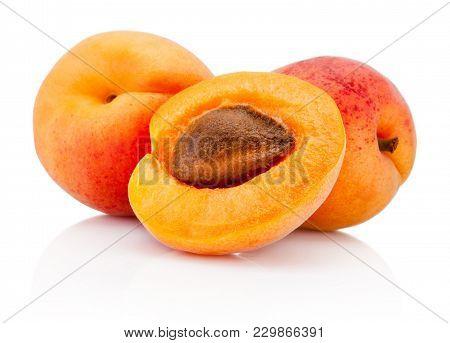 Fresh Cut Apricot Fruits Isolated On White Background