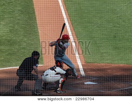 Phillies Jayson Werth Stands In The Batters Box With Buster Posey Catching