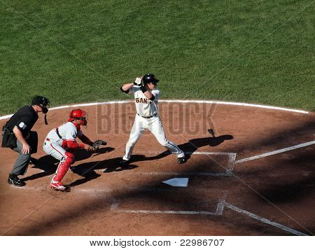 Giants Batter Buster Posey Stands In Batters Box Waiting For Incoming Pitch