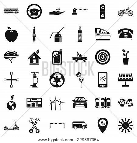 Parking Place Icons Set. Simple Set Of 36 Parking Place Vector Icons For Web Isolated On White Backg