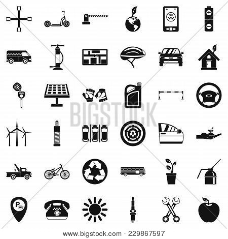 Carpark Icons Set. Simple Set Of 36 Carpark Vector Icons For Web Isolated On White Background
