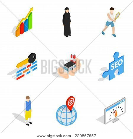 Working Personnel Icons Set. Isometric Set Of 9 Working Personnel Vector Icons For Web Isolated On W