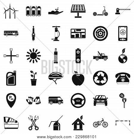 Motor Pool Icons Set. Simple Set Of 36 Motor Pool Vector Icons For Web Isolated On White Background