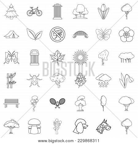 Green Courtyard Icons Set. Outline Set Of 36 Green Courtyard Vector Icons For Web Isolated On White