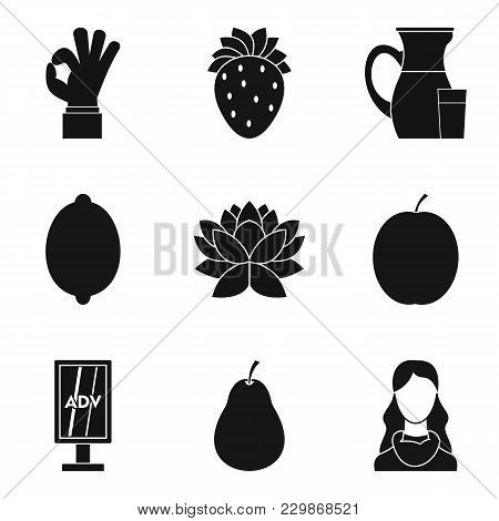 Vegetarian Cafe Icons Set. Simple Set Of 9 Vegetarian Cafe Vector Icons For Web Isolated On White Ba