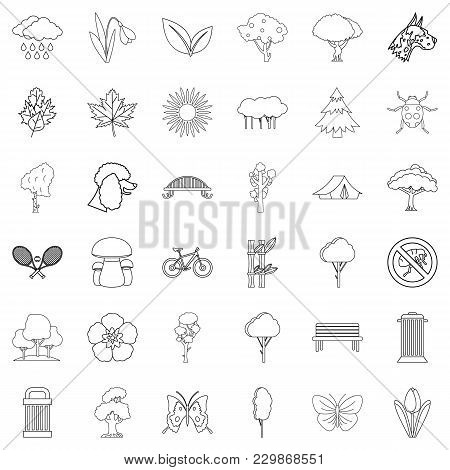 Green Yard Icons Set. Outline Set Of 36 Green Yard Vector Icons For Web Isolated On White Background