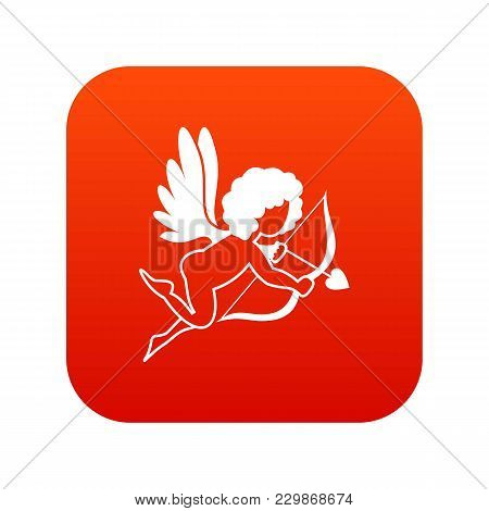 Love Cupid Icon Digital Red For Any Design Isolated On White Vector Illustration