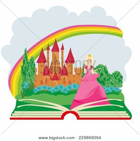 Magic Book - Beautiful Young Queen In Front Of Her Castle , Vector Illustration