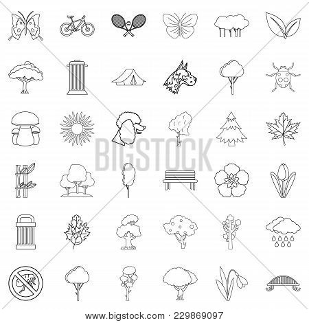 Eco Square Icons Set. Outline Set Of 36 Eco Square Vector Icons For Web Isolated On White Background