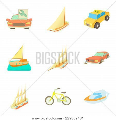 Urban Transport Icons Set. Cartoon Set Of 9 Urban Transport Vector Icons For Web Isolated On White B