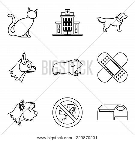 Veterinary Surgeon Icons Set. Outline Set Of 9 Veterinary Surgeon Vector Icons For Web Isolated On W