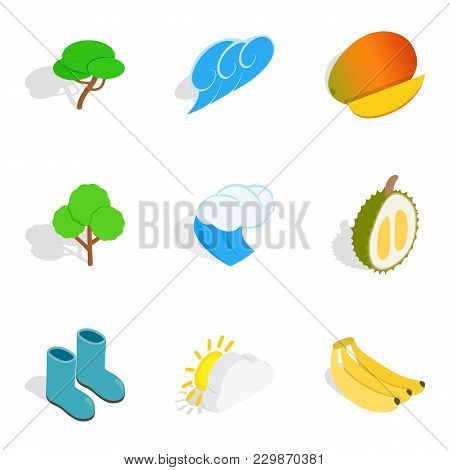 Eco Viable Icons Set. Isometric Set Of 9 Eco Viable Vector Icons For Web Isolated On White Backgroun
