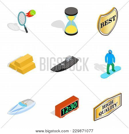 Recognition Icons Set. Isometric Set Of 9 Recognition Vector Icons For Web Isolated On White Backgro