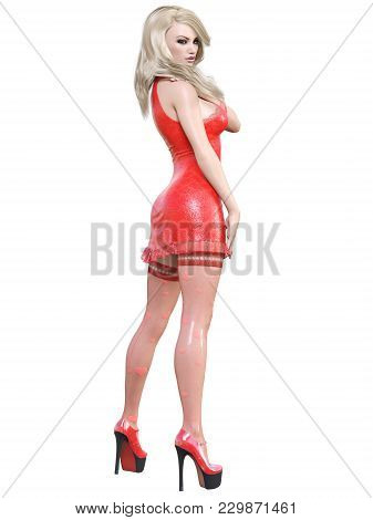 3d Beautiful Girl Red Dress Stockings Heart. Blonde Hair. Woman Studio Photography. High Heel. Conce