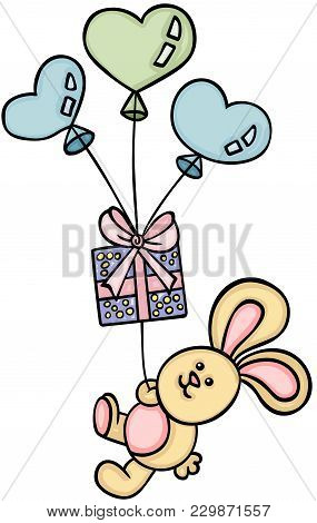 Little Bunny Flying With A Gift And Heart Shaped Balloons
