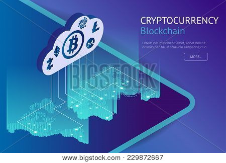 Cryptocurrency And Blockchain Isometric Concept. Isometric Vector Illustration. Business Financial C