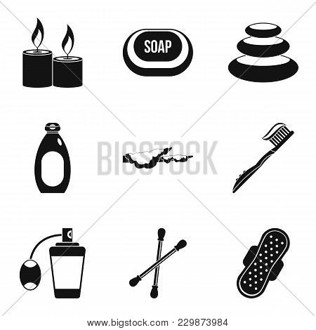 Hygienic Thing Icons Set. Simple Set Of 9 Hygienic Thing Vector Icons For Web Isolated On White Back