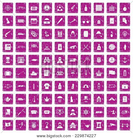 100 Offence Icons Set In Grunge Style Pink Color Isolated On White Background Vector Illustration