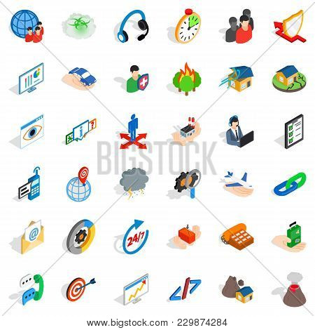 Commercial Spot Icons Set. Isometric Set Of 36 Commercial Spot Vector Icons For Web Isolated On Whit
