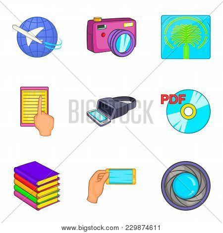 Virtual Existence Icons Set. Cartoon Set Of 9 Virtual Existence Vector Icons For Web Isolated On Whi