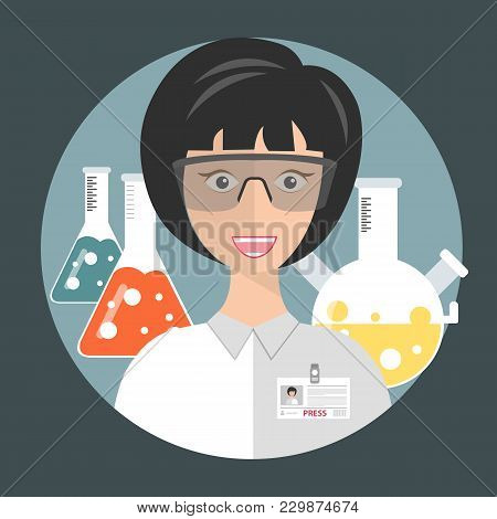 Laboratory Female Assistant. Concept For Science, Medicine And Knowledge. Flat Vector Illustration