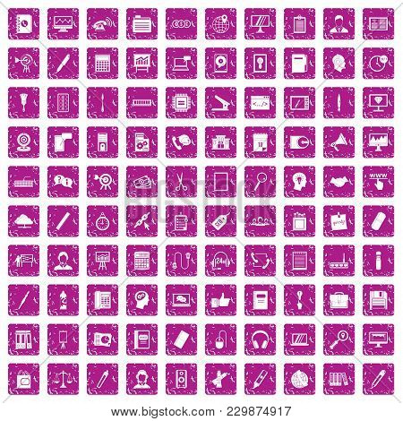 100 Office Work Icons Set In Grunge Style Pink Color Isolated On White Background Vector Illustratio