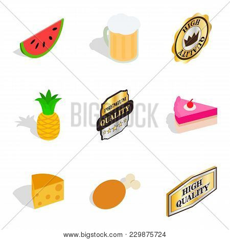Vitamin Food Icons Set. Isometric Set Of 9 Vitamin Food Vector Icons For Web Isolated On White Backg