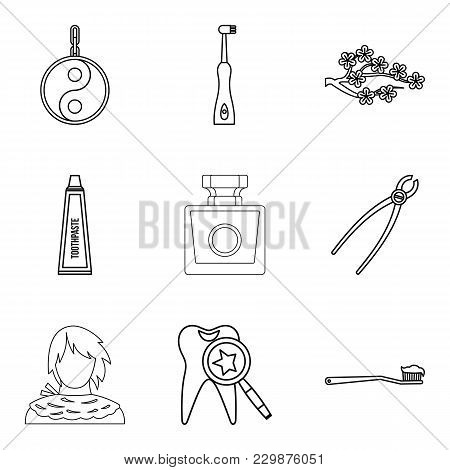 Aroma Oil Icons Set. Outline Set Of 9 Aroma Oil Vector Icons For Web Isolated On White Background