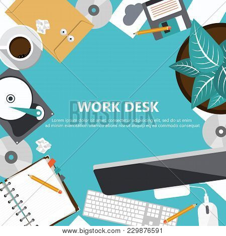 Office Work Desk Concept. Work Space, Workplace, Office, Indoor. Flat Banners For Business And Manag