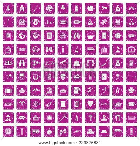 100 Adult Games Icons Set In Grunge Style Pink Color Isolated On White Background Vector Illustratio