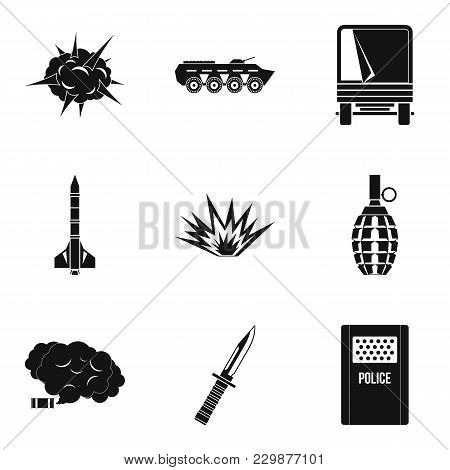 Act Of War Icons Set. Simple Set Of 9 Act Of War Vector Icons For Web Isolated On White Background