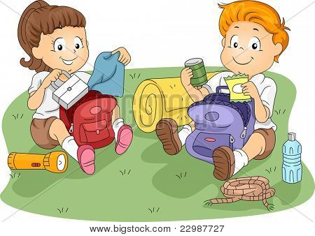 Illustration of Kids Unpacking their Belongings