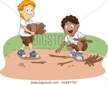 Illustration of Kids Gathering Firewood